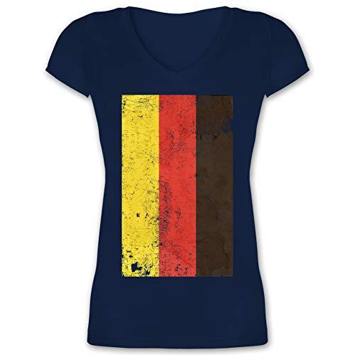 Handball WM 2021 - Deutschland Flagge Vintage - 3XL - Dunkelblau - Fan - XO1525 - Damen T-Shirt mit V-Ausschnitt