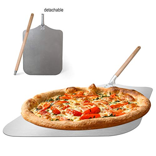 Q's INN 12x14' Pizza Peel 35 inch long, the 18 inch detachable handle make the pizza paddle compact and easy for storage. Large & Lightweight use the Spatula for Baking Pizza and Bread on Oven & Grill