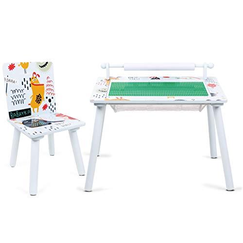 Lalaloom DREAM DECOR - Mesa de juegos infantil de madera con rollo de papel (mesa multiusos con 1 silla para jugar y construir, para niños), 60x40x44 cm