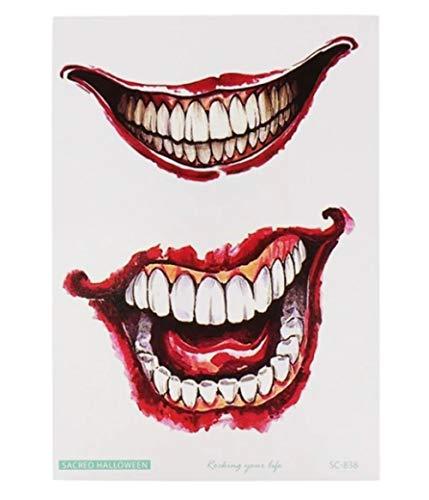 EROSPA® Tattoo-Bogen temporär - Joker Mund Zähne - Halloween Karneval Fasching