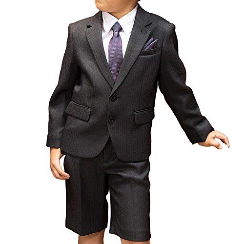 [CHOPIN(ショパン)] 入学式 スーツ 男の子 8791-5401 ヘリンボーンスーツ5点セット (130, ブラック)