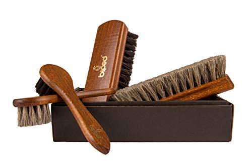 Splendore - Set spazzole da scarpe edizione classica – spazzole in crine di cavallo e legno di faggio z2487