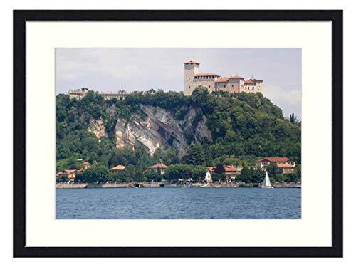 OiArt Wall Art Print Wood Framed Home Decor Picture Artwork(24x16 inch) - Borromeo Castle Lake Maggiore Angera Varese 1