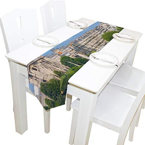 Yushg Notre Dame De Paris Kommode Schal Tuch Abdeckung Tischläufer Tischdecke Tischset Küche Esszimmer Wohnzimmer Home Hochzeitsbankett Dekor Indoor 13x90 Zoll