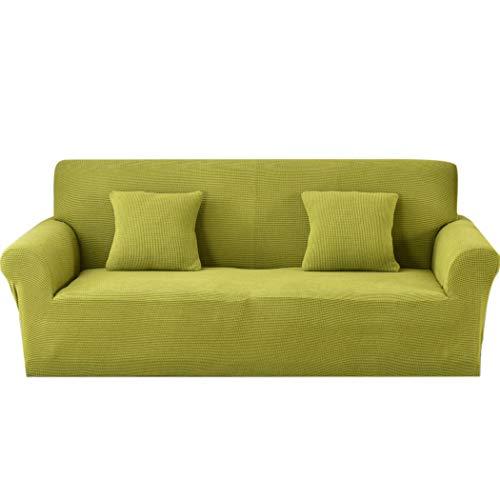 Carvapet Sofabezug 2 Sitzer Jacquard Sofahusse Elastische Stretch Sofa Überwürfe mit 2 Stücke Kissenbezug(Grün)