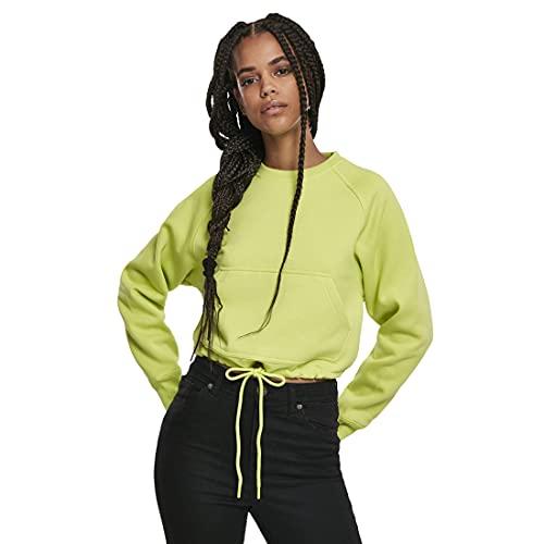 Urban Classics Pullover Ladies Oversized Short Raglan Crew Sudadera, Amarillo (Frozen Yellow 01494), Small para Mujer
