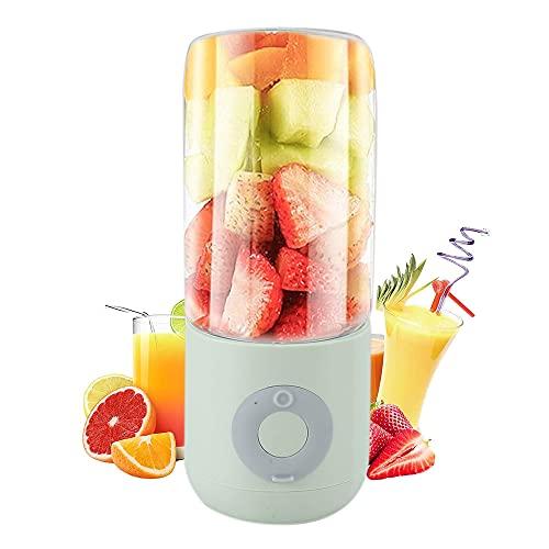 Tragbarer Mixer,1500mAh USB 500ml Mini Smoothie Maker Edelstahlklingen für Saft, Milkshake, Protein, Fitness, Reise, Outdoor (Green)