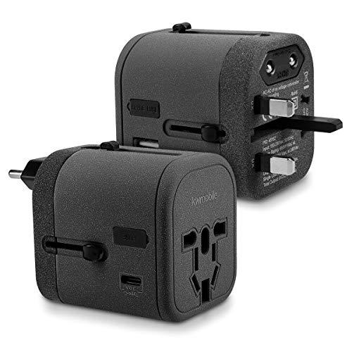 kwmobile Adaptateur Universel 150 Pays - Prise Universelle Voyage 4 Ports USB - Port 3A Type C - Prises électriques Prises de Courant - Gris