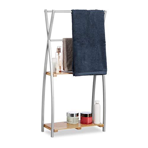 Relaxdays, Natur Handtuchhalter stehend, X-Design, 2 Ablagen, Handtuchständer Bad, HBT: 93 x 46 x 20 cm, Bambus + Stahl, Standard