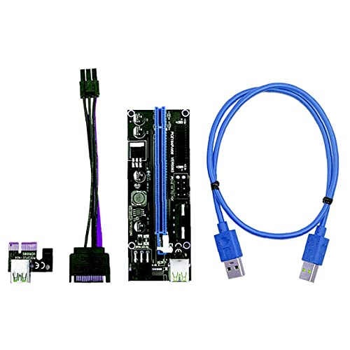 YepYes PCIE Riser 1X bis 16X Graphics Erweiterung für GPU Mining Powered Riser-Adapter-Karte, 60cm USB 3.0-Kabel, Zwei 6PIN Kabel und StromversorToolgskabel Blau (VER 009S, 4-Pack)