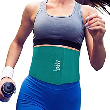 Nicole Miller Waist Trainer for Women 10  Sweat Belt Waist Trimmer Stomach Slimming Body Weight Shaper Exercise Equipment Adjustable Belt - Teal