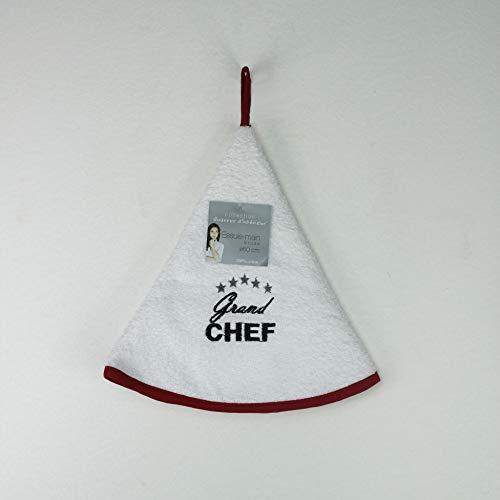 Douceur d 'Intérieur Toalla Redondo Bordado Chef Estrella/algodón Rojo, 60cm