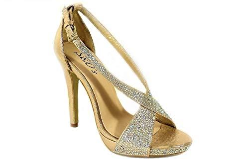 Sandalias de tacón alto para mujer, con plataforma de boda, con diamantes...