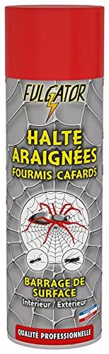 FULGATOR - Insecticide Super-Barrage HALTE Araignées - Action rapide et puissante contre les insectes rampants : araignées, fourmis, cafards - Résiste aux intempéries - Fabriqué en France - 500mL