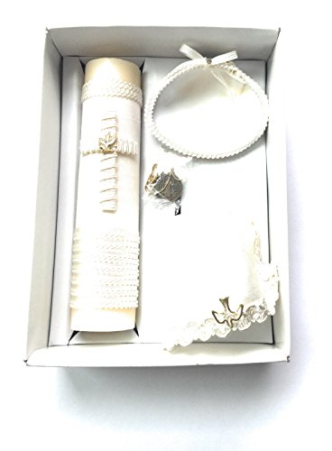 Handmade Catholic Baptism Kit including Medal, Towel, Candle and Shell Kit De Bautizo Religious Gift (White cross)