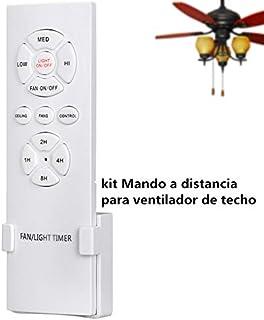 Hezbjiti Mando a Control Remoto para Ventilador de Techo, Control inalambrico y de luz, RF, WiFi, 3 velocidades y 4 temporizadores, Eficiencia energetica CLAR E, Encendido/Apagado
