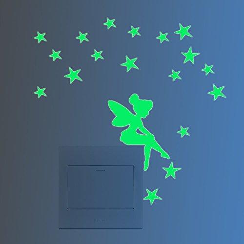 Feskin 3 Stück Leuchtaufkleber Kleine Elfe mit Sternen für Lichtschalter oder Steckdose, Wandaufkleber Fluoreszierend und im Dunkeln Leuchtend für Kinderzimmer und Babyzimmer
