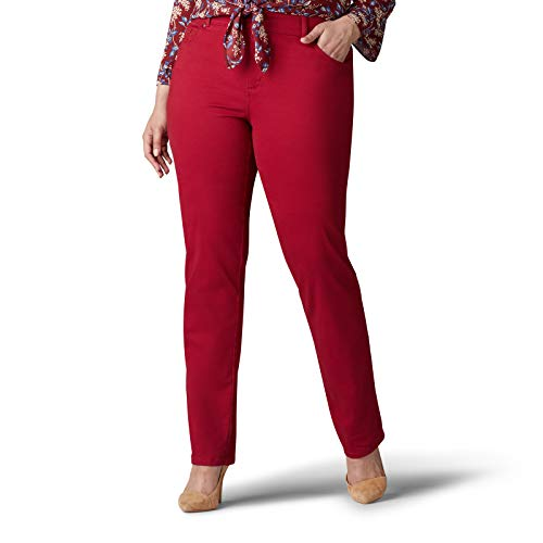 Lee Damen Plus Size Relaxed Fit Straight Leg Jeans, rot, 30W Medium