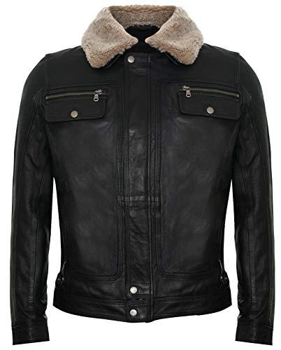 Infinity Leather Chaqueta Hombre de Cuero con Cuello Extraíble de Piel de Oveja Estilo Abrigo Casual