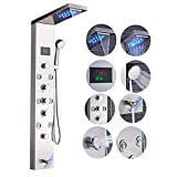 Votamuta Wall Mounted Shower Panels System LED Light Bathroom Waterfall Rainfall Shower Tower with 6 Massage Jets and Hand Sprayer Head Brushed Nickel