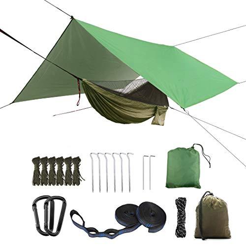 (Update to Oversized Rain Fly) Portable Camping Hammock Set, Single Double Hammock, Mosquito net, Insect net, Canopy, high Strength Parachute Fabric Hammock (Army Green Heavy Rain Fly)