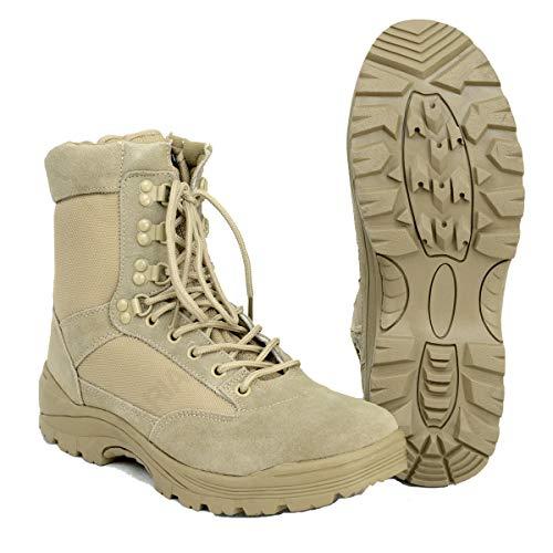 Mil-Tec - TACTICAL BOOT M.YKK ZIPPER Khaki Einsatzstiefel Outdoor Reißverschluss Beige Schuhe Größe 47 (US14)