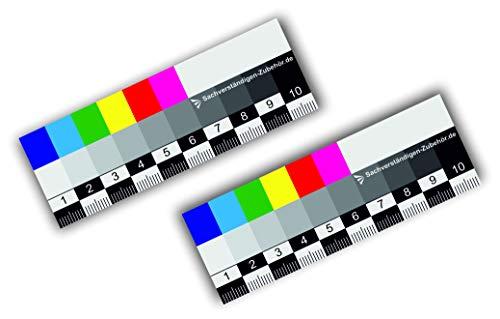 Sachverständigen-Zubehör 2er Set | Farbmaßlineal 10 cm | Dokumentationshilfe | praktisches Lineal | Karte Fotodokumentation | exakte Farben| Kfz Wertermittler (Magnet)