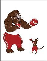 【FOX REPUBLIC】【ゴリラとカンガルーのボクシング試合】 白マット紙(フレーム無し)A3サイズ
