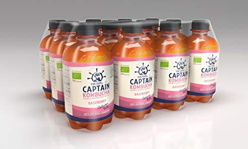 The Gutsy Captain - Kombucha Tea, Certified Organic - Natural Fermented Probiotic Drink California Raspberry - 12 x 400ml, CK-CR400UK