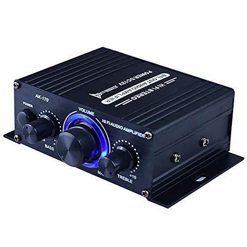 Amplificador potencia 400W DC12V Pantalla LED Instalación fácil Receptor música Sistema sonido para el hogar del automóvil Mini Radio FM doble canal Aleación aluminio Audio estéreo Auto Negro Estable