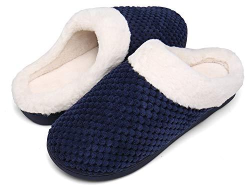 Mishansha Zapatillas Invierno Mujer Casa Zapatos Memory Foam Pantuflas Casa Cómodas Suave Slippers Suela de Goma,Azul,38/39