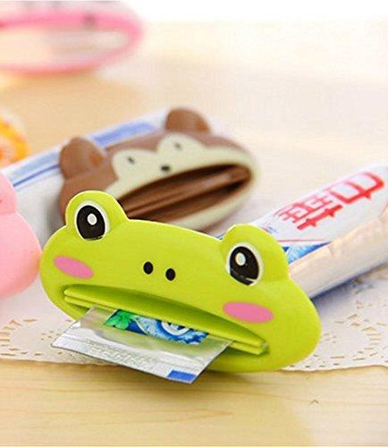 Nalmatoionme Creative mignon Plastique en forme de grenouille Nettoyant Dentifrice Squeezer (Grenouille verte)