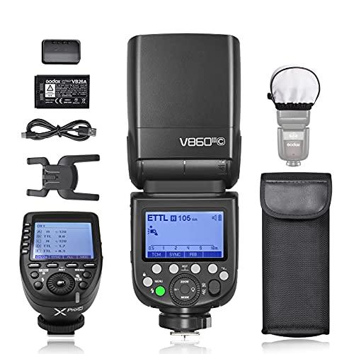 Godox V860IIIC Flash para cámara Canon EOS, TTL 76Ws 2.4G, Batería de Iones de Litio de 7,2V/2600mAh, 0.01-1.5s Tiempo de Reciclaje, Lámpara de Modelado LED de 10 Niveles, con Disparador Godox Xpro-C