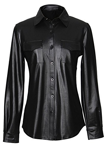 Sexy Steampunk Punk Style Long Sleeve PU Faux Leather Pocket Button Front Curved Hem Blouse Shirt Top Black M