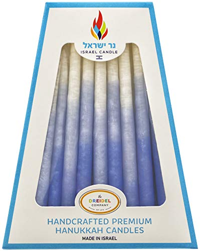 Chanukah Candles 45 Hanukkah Candles Decorative Blue, Light Blue, White - Hand Made in Israel