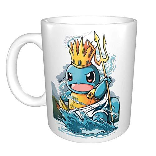Digno de tus tazas de café y té de cerámica favoritas Squirtle Poseidon Impresión blanca de fotograma completo de 11 onzas adecuada para la oficina y las vacaciones familiares.