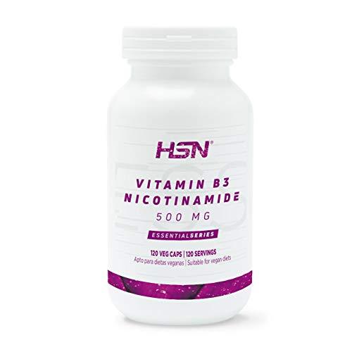 Vitamina B3 de HSN | 500 mg | Suministro 4 Meses | Fórmula de liberación inmediata de Nicotinamida | No produce Flush | Vegano, Sin Gluten, Sin Lactosa, 120 Cápsulas Vegetales