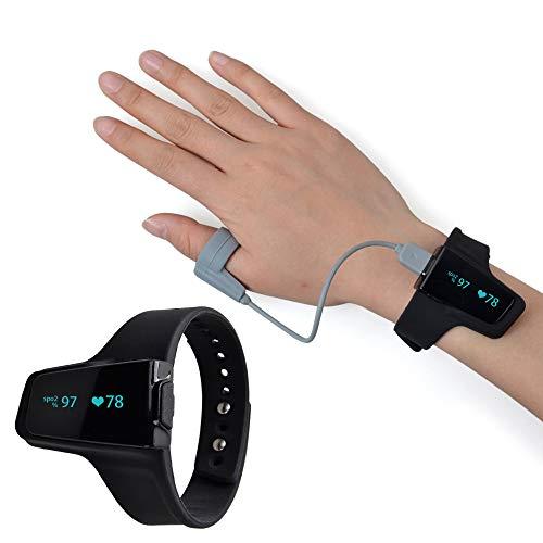 Oximeter Handgelenks-Pulsoximeter Drahtlose Bluetooth-Funktion Überwachung Der Sauerstoffsättigung Herzfrequenz Atmungsschlafüberwachung,Schwarz
