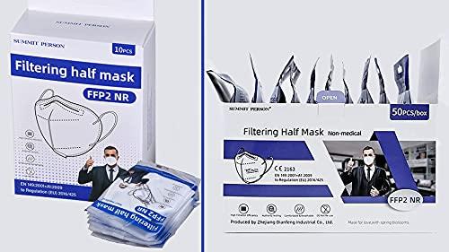 SUMMIT PERSON FFP2 Maske - Schutzmasken FFP2 - Filtering half Mask FFP2 - 50 Stück - 5-lagige FFP2 Atemschutzmaske - FFP2 Masken - Feinstaubmaske - Masken FFP2 CE zertifiziert- Mundschutz FFP2