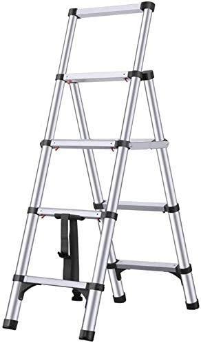 YZH Scale Portatili Leggere Multi-Uso in Alluminio Multi-utilizzo Telescopico Step Ladder Pieghevole Portable Scaletta ingegneria STAIRSWITH Ruote (Color : Black, Size : 4-Step)