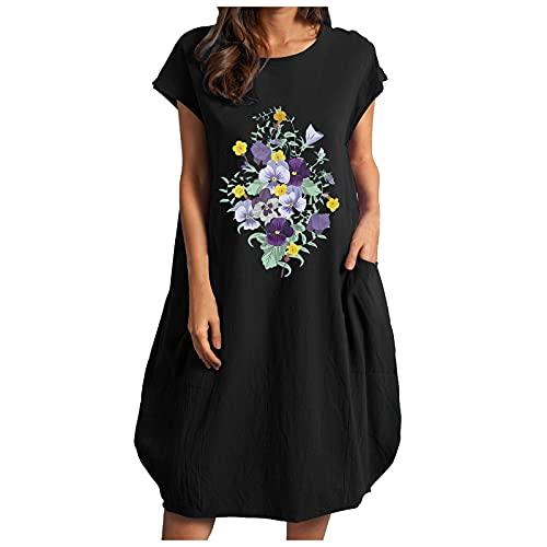 Vestido de verano para mujer con estampado de flores, talla grande, holgado, color puro, minivestido, verano, informal, vestido de fiesta, Negro , XXL
