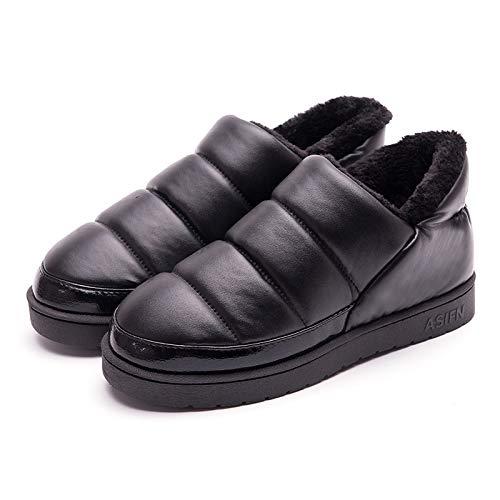 [HRFEER] レディース メンズ ルームシューズ 無地 室内履き 秋冬用 あったか ボア もこもこ 防水 防寒 滑り止め (26.5cm~27.0cm, ブラック)