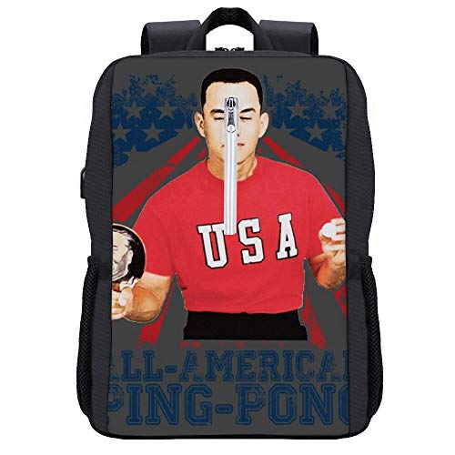 Forrest Gump All American Ping Pong Rucksack Daypack Bookbag Laptop Schultasche mit USB-Ladeanschluss