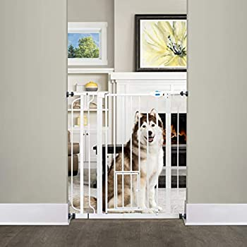 Carlson Extra Tall Walk Through Pet Gate with Small Pet Door Includes 4-Inch Extension Kit 4 Pack Pressure Mount Kit and 4 Pack Wall Mount Kit