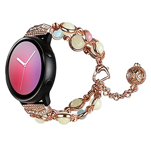 TiMOVO Cinturino Compatibile con Samsung Galaxy Watch Active 2/Active/Galaxy Watch 3 41mm R840/Watch 42mm, Cinturino di Scambio per Orologio, Cinturino con Perline alla Moda da Donna Ragazza, Oro Rosa