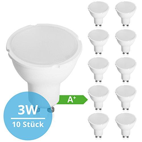 Panorama24 LED GU10 SET 10 Stück 3 W mit einer Leuchtkraft von 26 W, warmweiß (3000 K), 200 lm, 120 ° Abstrahlwinkel, A+, Glühbirne, Birne, Halogen, Lampe, Spot, Strahler