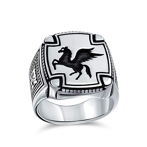 Grande 2 tono antiguo griego mítico caballo volador criatura Pegasus Signet anillo para los hombres adolescente oxidado 925 plata de ley