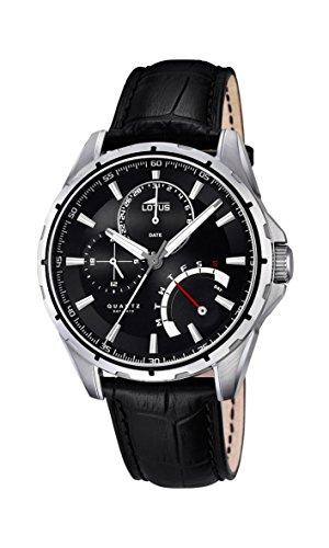 Lotus 18208/2 - Reloj para Hombre, Cuarzo, analógico, Correa de Piel, Color Negro