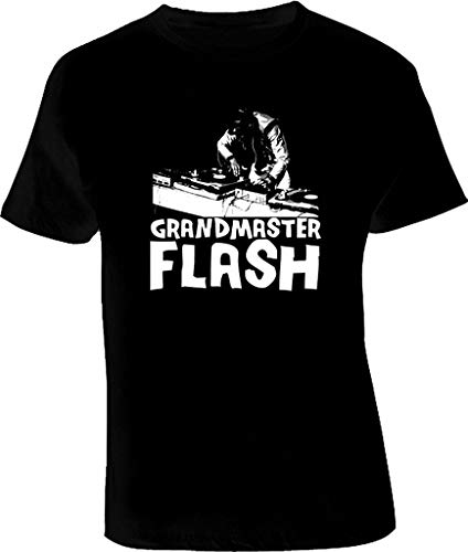 Grandmaster Flash T Shirt New Men's Fashion Crew Neck Short Sleeves Cotton Tops Clothing, Black