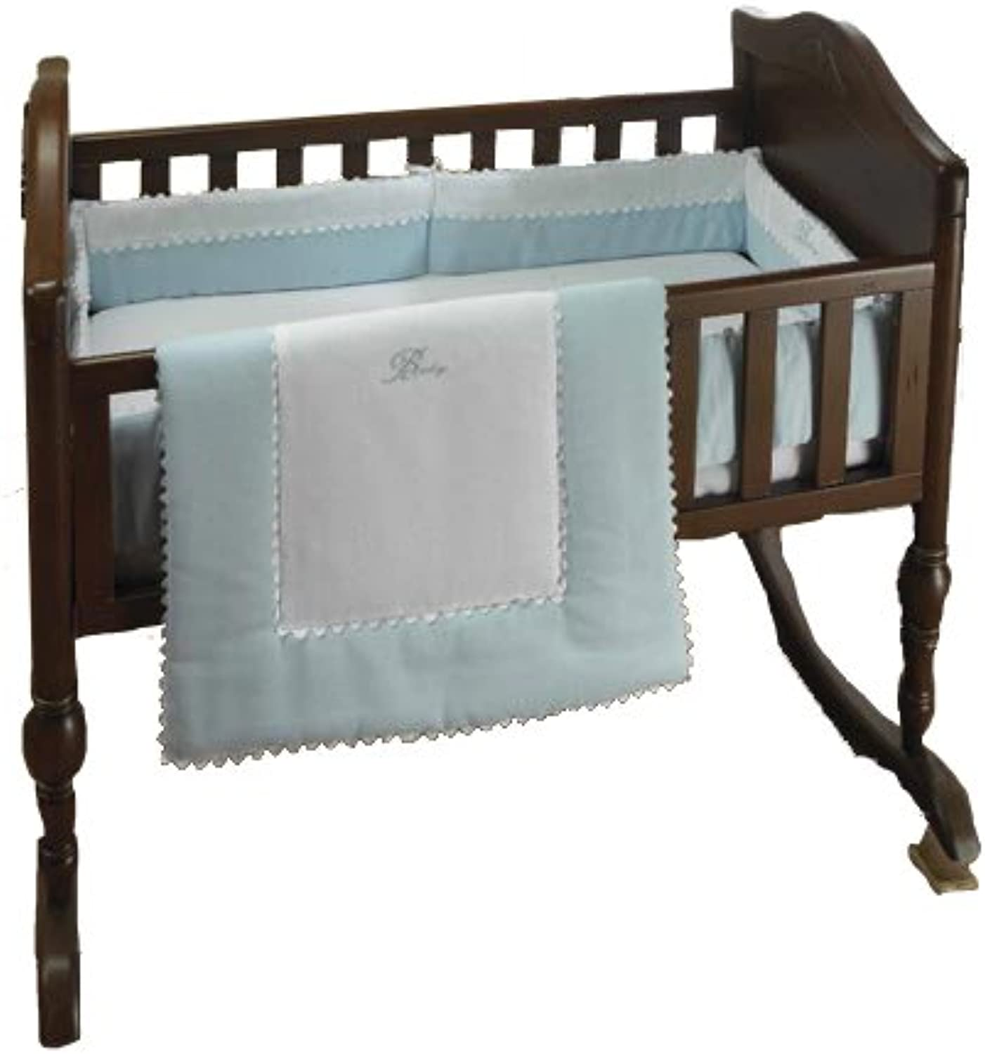 Bkb Ric Rac Cradle Bedding, Light bluee, 18  X 36
